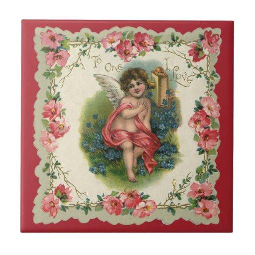 El día de San Valentín del Victorian del vintage, Azulejo Cuadrado Pequeño