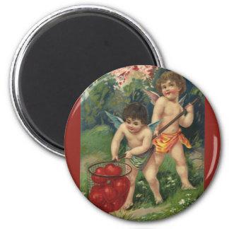 El día de San Valentín del Victorian del vintage, Imán Redondo 5 Cm