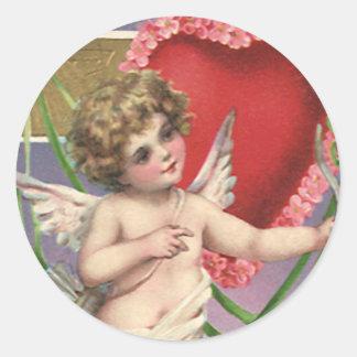 El día de San Valentín del Victorian del vintage; Pegatina Redonda