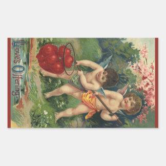 El día de San Valentín del Victorian del vintage, Pegatina Rectangular