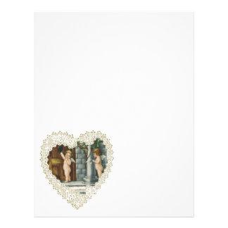 El día de San Valentín del Victorian del vintage, Plantilla De Membrete