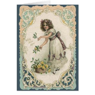 El día de San Valentín del Victorian del vintage, Tarjeta De Felicitación