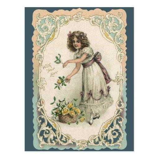El día de San Valentín del Victorian del vintage, Tarjetas Postales