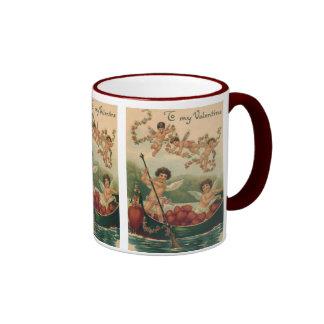 El día de San Valentín del Victorian del vintage, Taza De Dos Colores