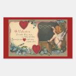 El día de San Valentín del vintage; Ángel de Pegatina Rectangular
