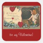 El día de San Valentín del vintage; Ángel de Pegatina Cuadrada