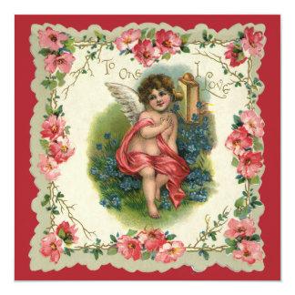 El día de San Valentín del vintage, ángel del Invitación Personalizada