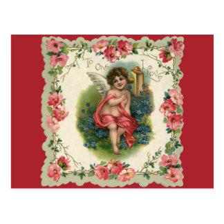 El día de San Valentín del vintage, ángel del Postales