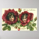 El día de San Valentín del vintage, caras del Impresiones