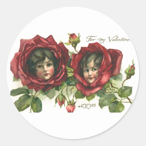 El día de San Valentín del vintage, caras del Pegatinas Redondas