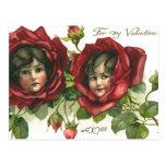 El día de San Valentín del vintage, caras del Postal
