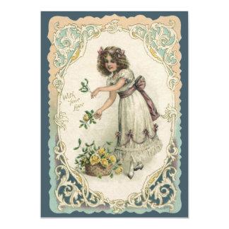 El día de San Valentín del vintage, chica del Invitacion Personalizada
