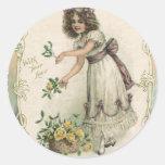 El día de San Valentín del vintage, chica del Pegatina Redonda