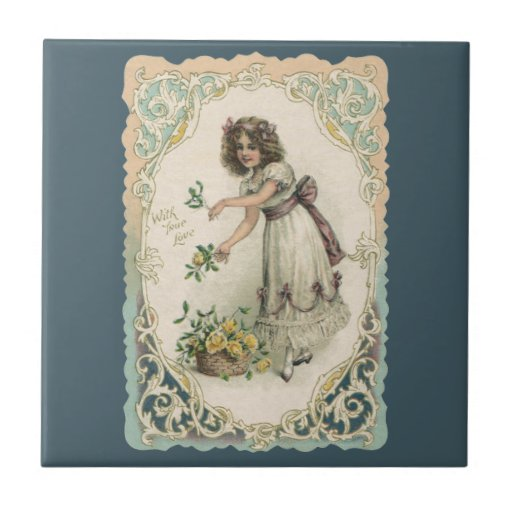 El día de San Valentín del vintage, chica del Vict Azulejos Cerámicos