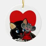 El día de San Valentín del vintage, corazón de la Adorno Redondo De Cerámica