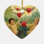 El día de San Valentín del vintage, corazones de Adorno Navideño De Cerámica En Forma De Corazón