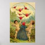 El día de San Valentín del vintage, corazones de l Posters