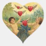 El día de San Valentín del vintage, corazones de Calcomania De Corazon Personalizadas