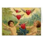 El día de San Valentín del vintage, corazones de Tarjeta De Felicitación