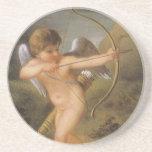 El día de San Valentín del vintage, Cupid con el Posavasos Para Bebidas