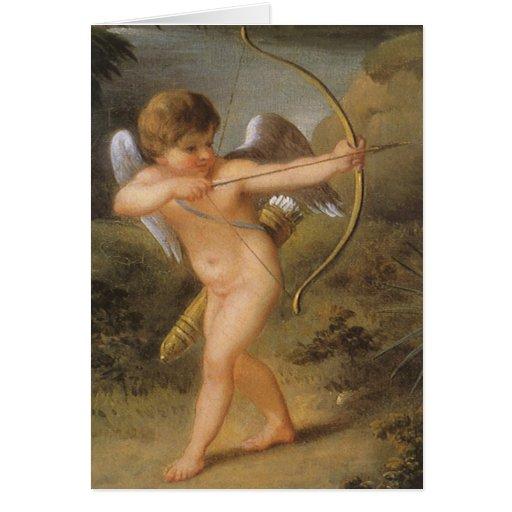 El día de San Valentín del vintage, Cupid con el Tarjeta De Felicitación