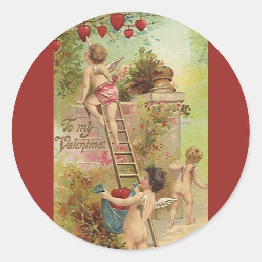 El día de San Valentín del vintage, escalera linda Pegatina Redonda