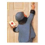 El día de San Valentín del vintage, niño con la le Tarjetas Postales