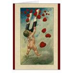 El día de San Valentín del vintage, querube con Tarjeta Pequeña