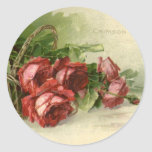El día de San Valentín del vintage, rosas rojos Etiquetas Redondas