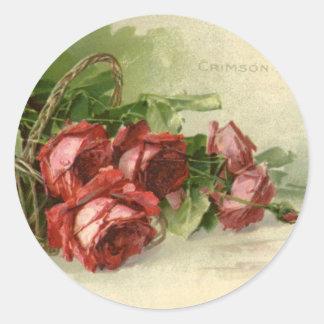El día de San Valentín del vintage, rosas rojos Pegatina Redonda