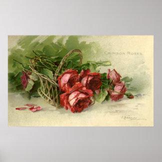 El día de San Valentín del vintage, rosas rojos Póster