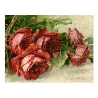 El día de San Valentín del vintage, rosas rojos Postales