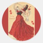 El día de San Valentín del vintage, señora de Pegatina Redonda