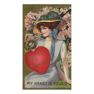 El día de San Valentín del vintage, señora Tarjetas De Visita