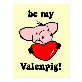 El día de San Valentín divertido del cerdo Postales