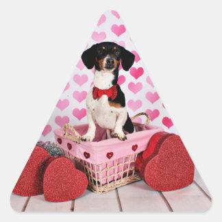 El día de San Valentín - Ducky - Dachshund Pegatina Triangular