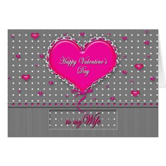 El día de San Valentín - esposa - gris/rosa/lunar Tarjeta De Felicitación