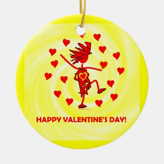 El día de San Valentín feliz Adorno Navideño Redondo De Cerámica
