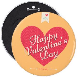 El día de San Valentín feliz botones redondos de 6 Pin Redondo De 6 Pulgadas