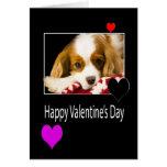 El día de San Valentín feliz con el perro de aguas Tarjetas