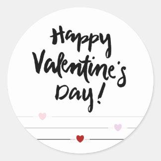 El día de San Valentín feliz con los corazones en Pegatina Redonda