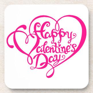 El día de San Valentín feliz con los corazones Posavasos