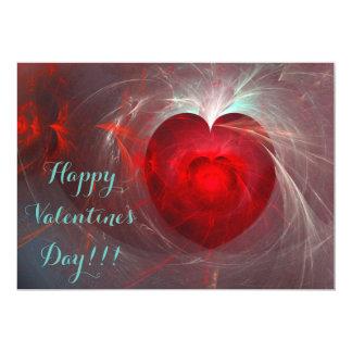 """¡El día de San Valentín feliz! Corazón del fractal Invitación 5"""" X 7"""""""