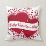 ¡El día de San Valentín feliz! Corazones rojos Cojines