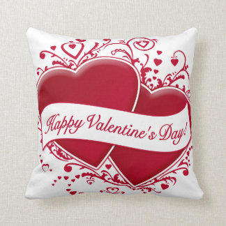 ¡El día de San Valentín feliz! Corazones rojos Cojín