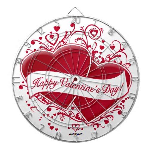 ¡El día de San Valentín feliz! Corazones rojos Tablero Dardos