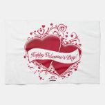 ¡El día de San Valentín feliz! Corazones rojos Toallas De Cocina