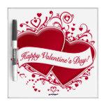 ¡El día de San Valentín feliz! Corazones rojos Tablero Blanco