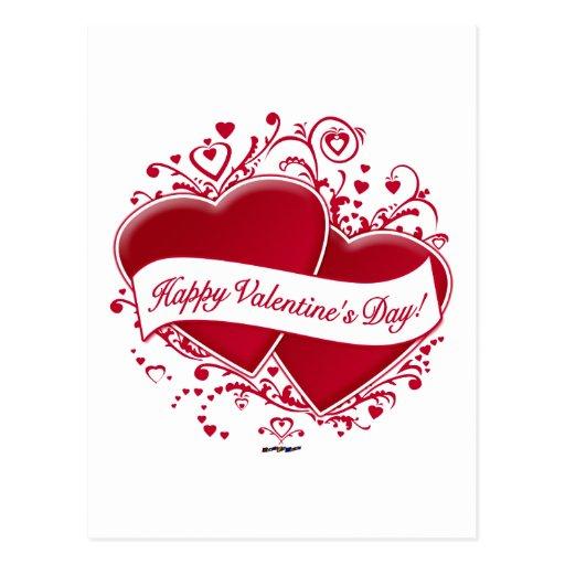 ¡El día de San Valentín feliz! Corazones rojos Postales