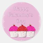 El día de San Valentín feliz de la magdalena Pegatina Redonda